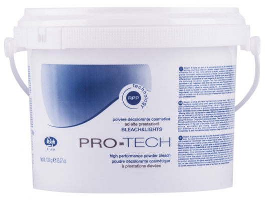 обесцвечивание волос lisap milano bleach and lights pro-tech осветляющее средство до 7.5 тонов 1кг.